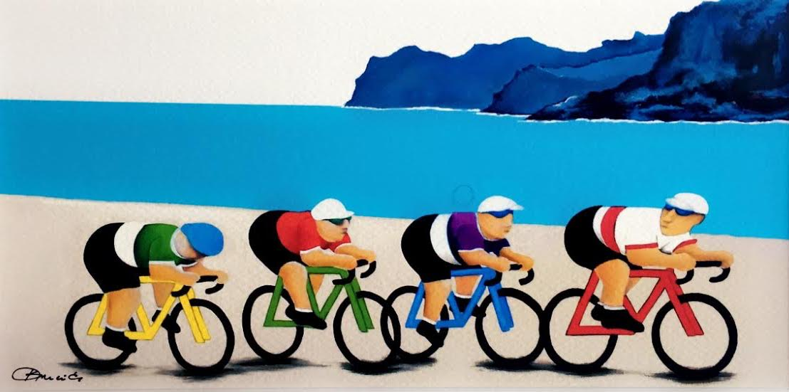This is a paint of four cyclist on their bicycle