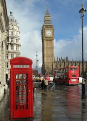 this image is a shoot of a phone box and Big Ben, so british