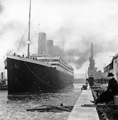 this picture is a shoot of the Titanic in black and white in Belfast