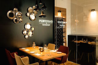 On this picture, we can see a table in the Portfolio Restaurant