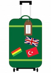 This is an image of a suit case with the Senegal, Turkesh and British flags