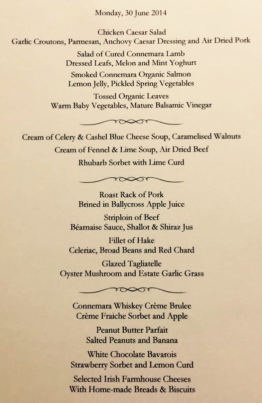 This picture is the menu of the George V Dinning Room