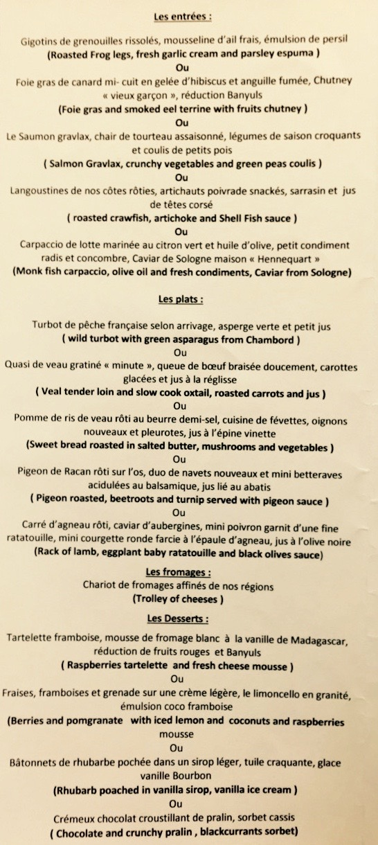 This is a picture of the menu of Auberge de la Caillère
