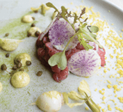 This photo shows a dish from the Restaurant Aniar