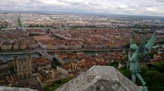 this picture is a shoot at the top of Lyon's Basilica.