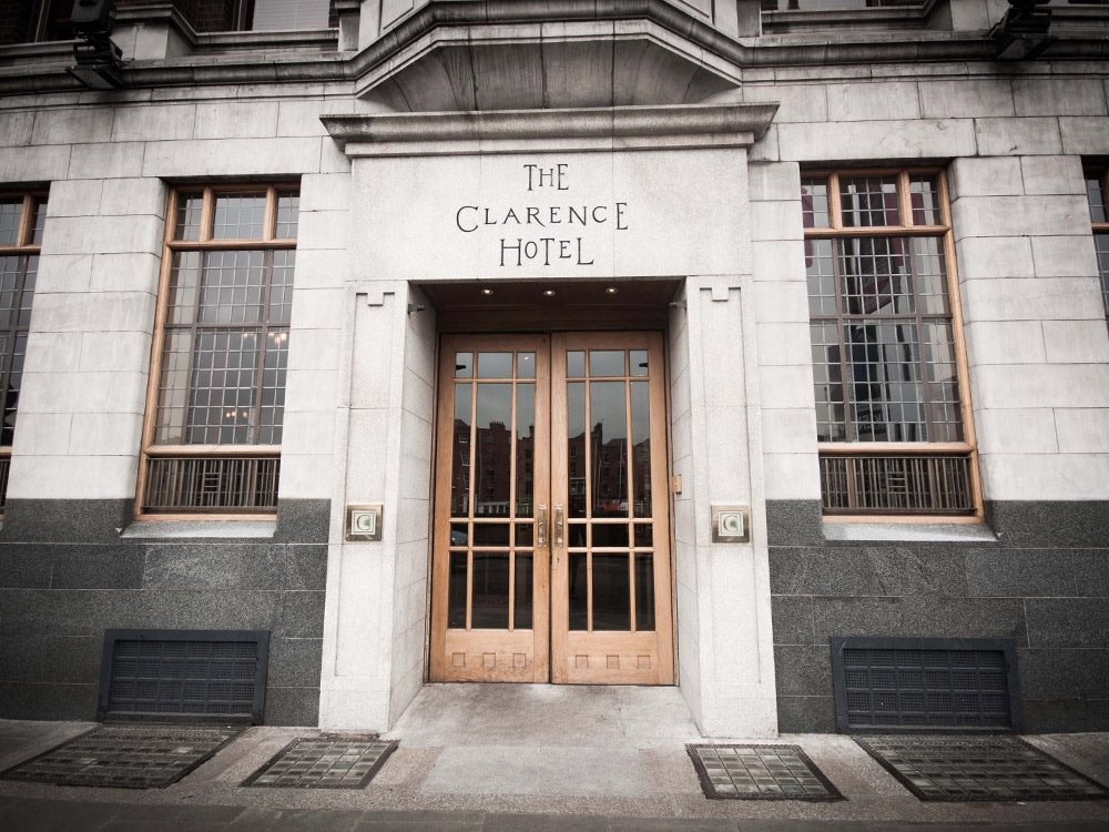 This picture shows the beautiful front door of the Clarence Hotel