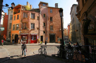 this image is a shoot of the old lyon, with its establishment full of colours.