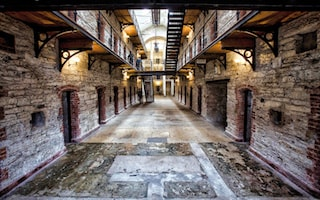 this image gives you an idea of Cork city Gaol, here it's one corridor of the prison